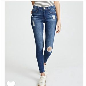 FRAME Le High Skinny Jeans Distressed Ankle Fray